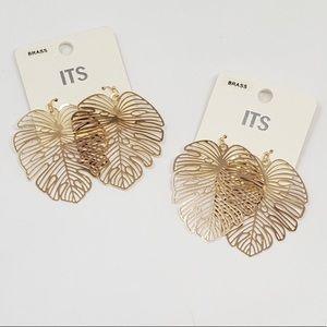 Monstera Brass Leaf Earrings New & Trending Now